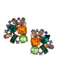 Oscar de la Renta - Multicolor Crystal Cluster Clip Earrings - Lyst