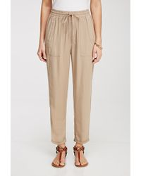Forever 21   Natural Cuffed Drawstring Joggers   Lyst