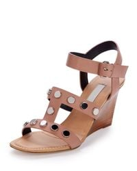 Balenciaga - Brown Studded Leather Wedge Sandals - Lyst