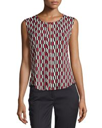 Laundry by Shelli Segal - Red Prism-Print Stretch Top - Lyst