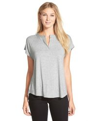 Pleione | Gray Split Neck High/low Tee | Lyst