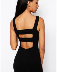 ASOS - Black Tall Strap Back Bodycon Midi Dress - Lyst