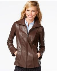 Anne Klein | Brown Leather Jacket | Lyst