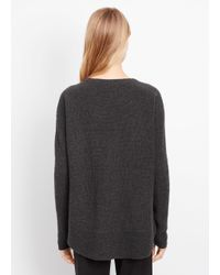 VINCE | Gray Cashmere Ribbed Crew Neck Sweater | Lyst