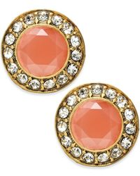 ABS By Allen Schwartz | Orange Crystal Stone Stud Earrings | Lyst