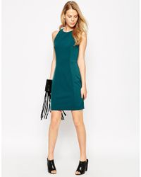 Mango - Green Sleeveless Bodycon Dress With Contrast Side Panels - Lyst