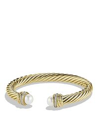 David Yurman | Yellow Pearl Crossover Bracelet With Diamonds, .15 Ct. T.w. | Lyst