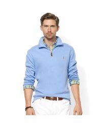 Ralph Lauren - Blue Half Zip Mock Neck French Rib Pullover for Men - Lyst