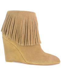 Chinese Laundry | Natural Arctic Wedge Fringe Booties | Lyst