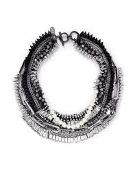 Venna | Metallic Crystal Pearl Spike Collar Necklace | Lyst