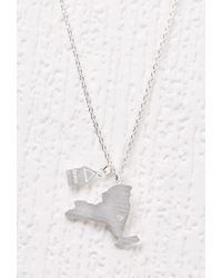 Forever 21 - Metallic Cool And Interesting Ny State Necklace - Lyst