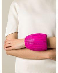 Monies - Pink Wooden Discs Oversized Cuff - Lyst