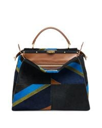 Fendi | Blue Peekaboo Large Multicolor Geometric Calf Hair Satchel | Lyst