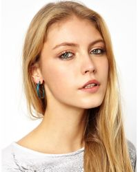 ASOS - Blue Patina Hoop Earrings - Lyst
