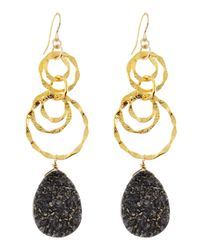 Devon Leigh | Blue Dark Gray Druzy Drop & Link Earrings | Lyst