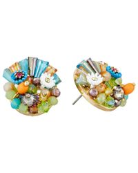 Betsey Johnson | Multicolor Weave And Sew Multi Woven Round Button Earrings | Lyst