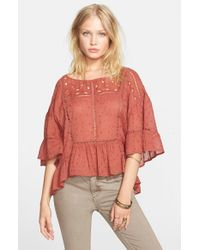 Free People - Red 'beautiful Dreamer' Top - Lyst
