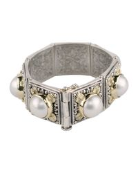 Konstantino | White Silver & 18k Pearl Square-link Bracelet | Lyst