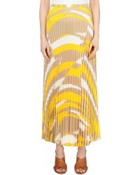 Max Mara - Natural Abstract-print Pleated Woven Skirt - Lyst