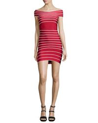 Hervé Léger - Red Micro-striped Bandage Dress - Lyst