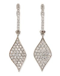 Roberto Coin | Metallic 18K Pave Diamond Drop Earrings | Lyst