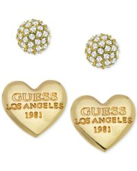 Guess | Metallic Crystal Heart Stud Earring Set | Lyst