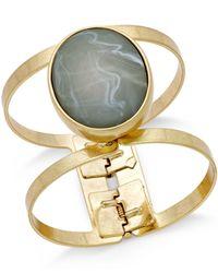 Macy's - Metallic Gold-tone Large Stone Hinged Open Bangle Bracelet - Lyst