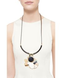Marni | Brown Leather And Horn Long Necklace | Lyst