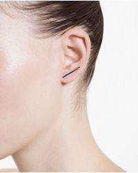 Asherali Knopfer | Metallic 18K White Gold And Diamond Bar Earring | Lyst