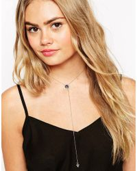 ASOS - Black Fine Stone Triangle Choker Lariat Necklace - Lyst