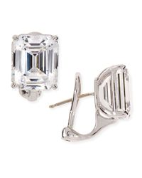 Fantasia by Deserio | White 13.0 Carat Cubic Zirconia Emerald-cut Stud Earrings | Lyst