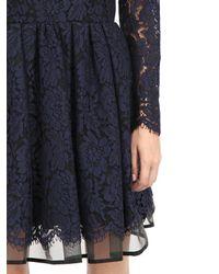 MSGM - Blue Cotton Lace & Crinoline Dress - Lyst