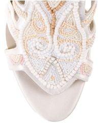 Stella McCartney - White Pearl Beaded High-leg Sandal - Lyst