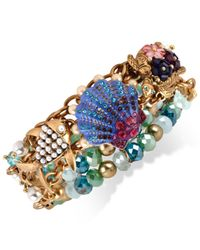 Betsey Johnson | Multicolor Gold-Tone Seashell Charm Half-Stretch Bracelet | Lyst