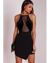Missguided - Velvet Top Asymmetric Bodycon Dress Black - Lyst