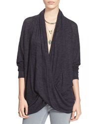 Free People | Black Drapey Wrap Front Knit Top | Lyst