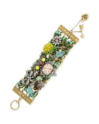 Betsey Johnson | Multicolor Tritone Floral Owl Wide Toggle Bracelet | Lyst