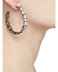 Kenneth Jay Lane | Metallic Crystal Detailed Hoop Earrings | Lyst