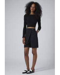 TOPSHOP - Black Dring Wrap Longline Shorts - Lyst