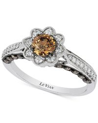 Le Vian - Brown Chocolatier® Chocolate And White Diamond Flower Ring (7/8 Ct. T.w.) In 14k White Gold - Lyst