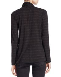 Lord & Taylor | Black Petite Metallic Cowl-neck Sweater | Lyst