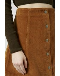 TOPSHOP - Brown Cord Button Front A-line Skirt - Lyst