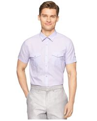 Calvin Klein - Purple Twill Stripe Shirt for Men - Lyst