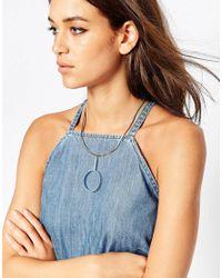 ASOS - Blue Enamel Open Circle Necklace - Lyst
