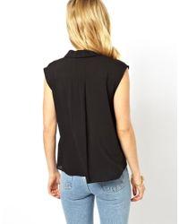 ASOS | Black Petal Collar Blouse | Lyst