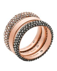 Michael Kors | Pink Pave Rings, Set Of 3 | Lyst