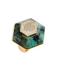 Rachel Zoe - Green 'ali' Stone & Crystal Hexagon Ring - Lyst