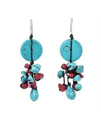 Aeravida | Blue Cute Multi-stone Tq .925 Silver Cluster Earrings | Lyst