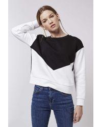 TOPSHOP - White Petite Colour Block Sweatshirt - Lyst