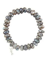 Sydney Evan - 10Mm Mystic Labradorite Beaded Bracelet With 14K White Gold/Diamond Small Love Charm (Made To Order) - Lyst